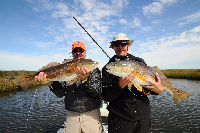 Double reds caught while fly fishing.