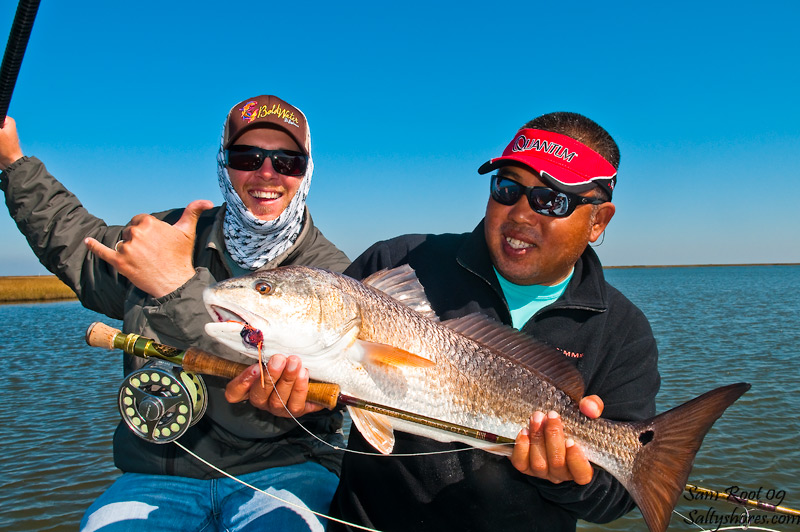 Sam Root gets a good redfish on fly